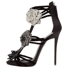 Giuseppe Zanotti New Black Crystal Flower Evening Sandals Heels