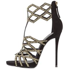 Giuseppe Zanotti New Black Suede Gold Crystal Web Evening Sandals Heels in Box