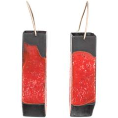 Red Square Tube Earrings