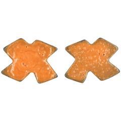 Orange X Marks Stud Earrings