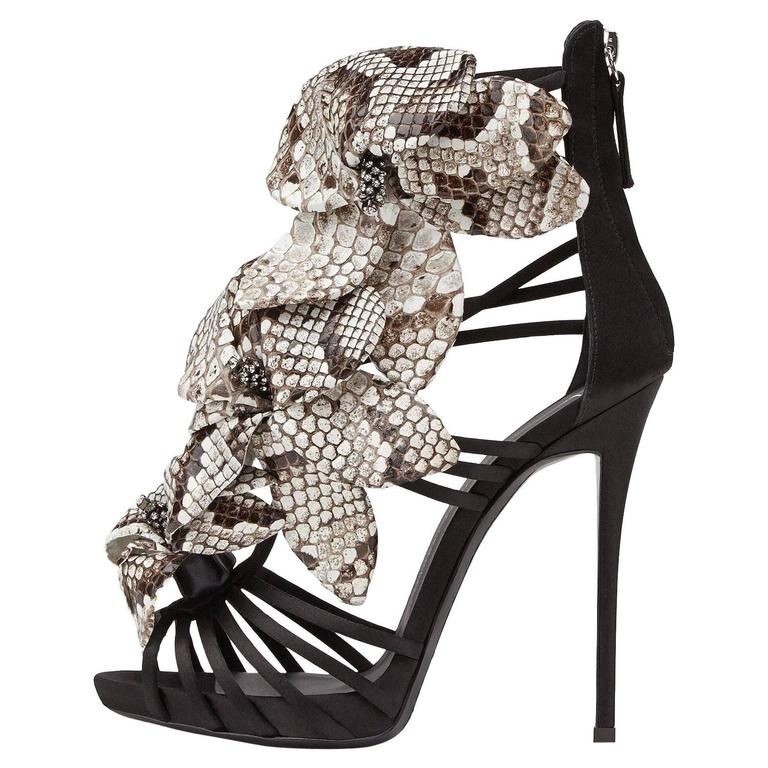 Giuseppe Zanotti Black Satin Leather Flower Evening Sandals Heels in Box For Sale