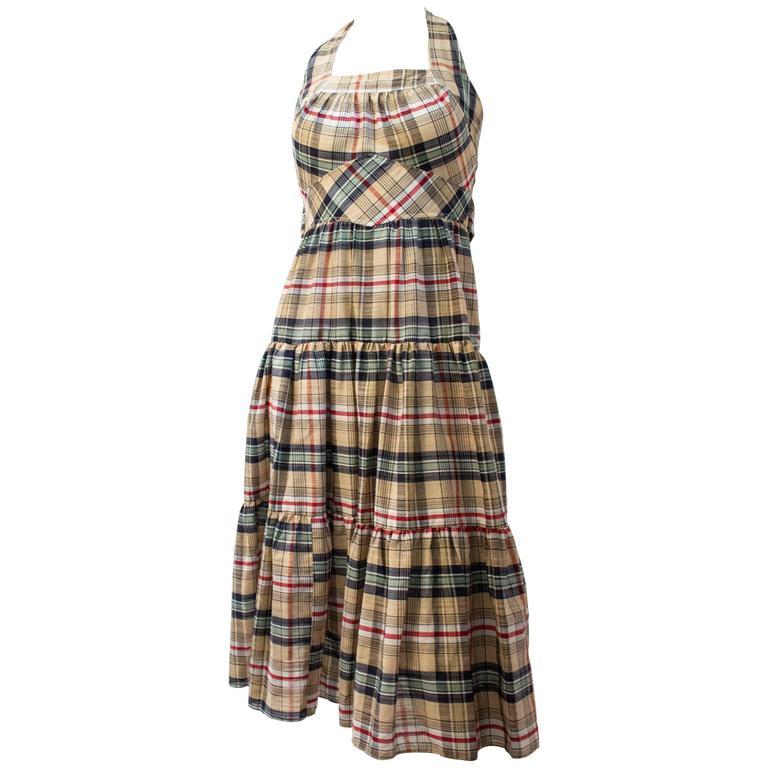 70s Cotton Plaid Halter Tie Back Summer Day Dress For Sale