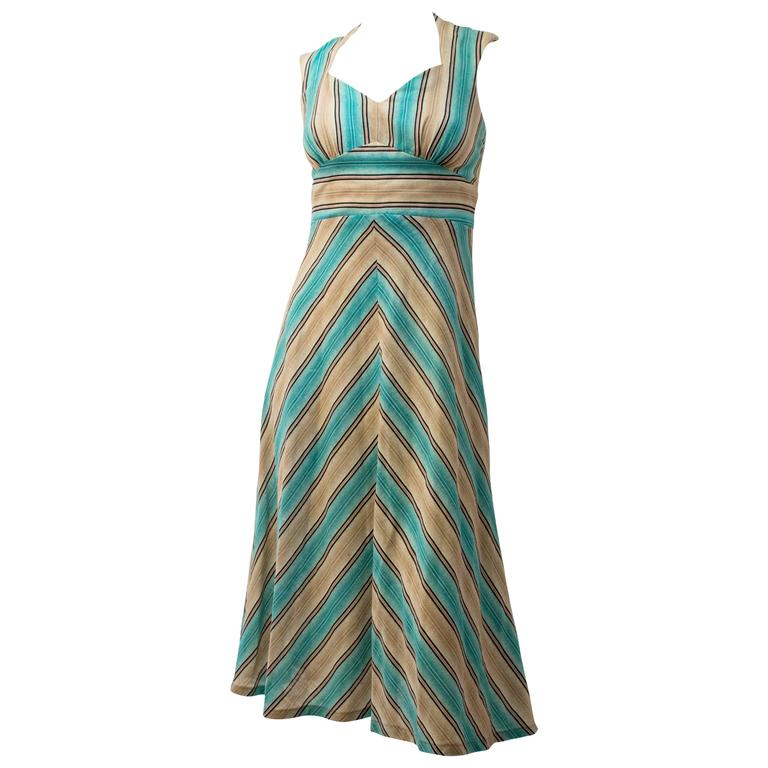 70s Halter Tieback Chevron Summer Dress For Sale
