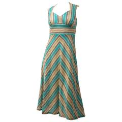 70s Halter Tieback Chevron Summer Dress