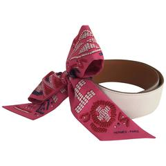 Hermès White Leather Belt with Pink Silk Twilly with White, Red and Blue Design