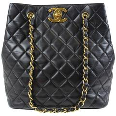 Chanel Black Lambskin Quilted Leather Gold Shopper Shoulder Carryall Tote Bag