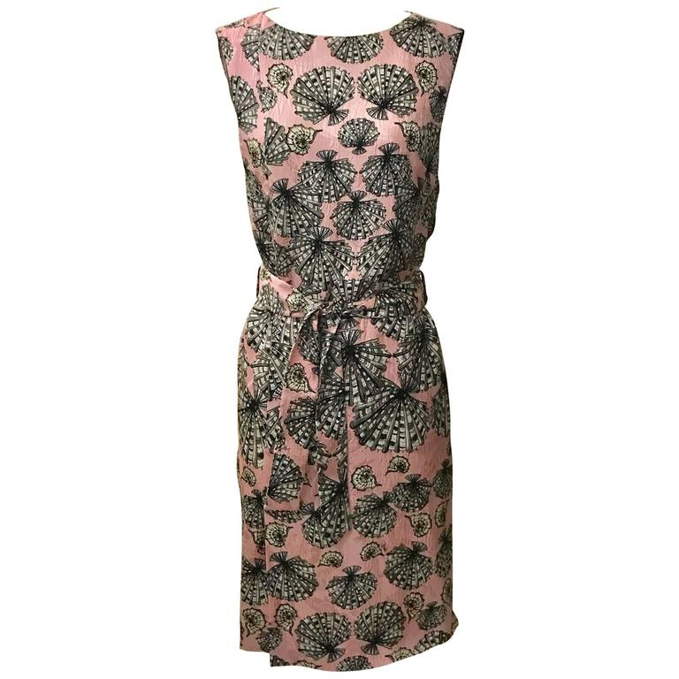 New Emilio Pucci Pink Silk Shell Seashell Print Belted Sleeveless Sun Dress