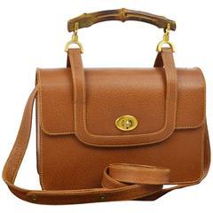 Gucci Vintage Cognac Leather Top Handle Satchel Kelly Style Crossbody Bag