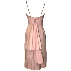 Mr. Blackwell Rhinestone Strap Pink Linen Tiered Fishtail Dress, circa 1959
