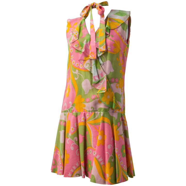 60s Drop Waist Flower Power Dress with Sash
