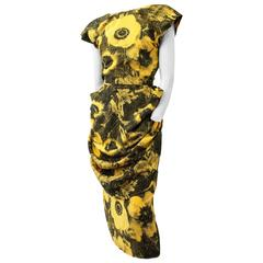 80s Black and Yellow Ben-Day dots Print Dress