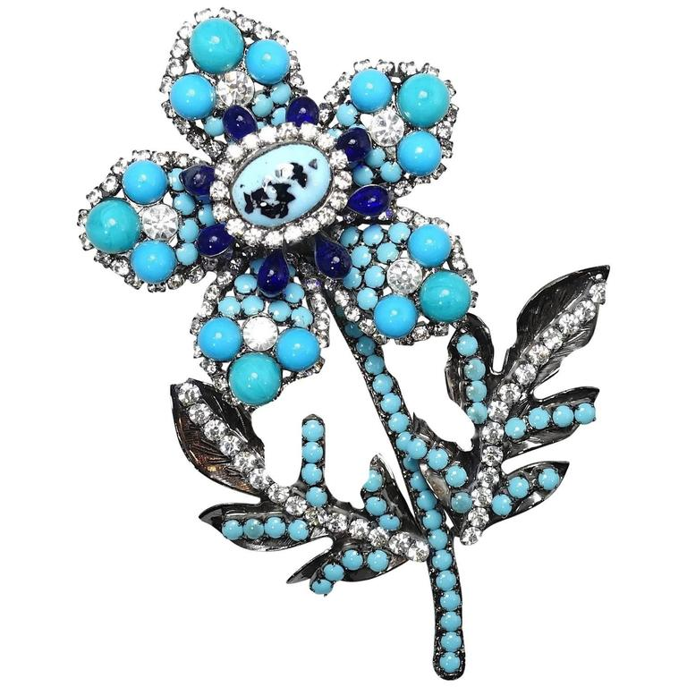 Lawrence Vrba Large Crystal and Turquoise 3D Floral Brooch  For Sale