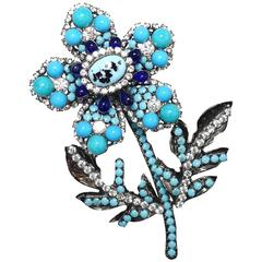 Lawrence Vrba Large Crystal and Turquoise 3D Floral Brooch