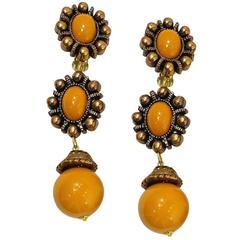 Vintage 1970s Butterscotch Enamel Dangling Earrings