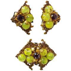 Vintage 1950s Miriam Haskell Glass Rhinestone Brooch & Earring Set