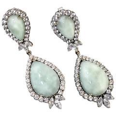 Pierced Jadeite Rhinestone Dangling Earrings