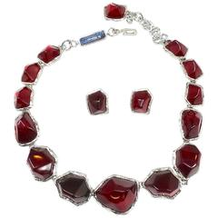 Limited Edition Yves Saint Laurent Red Gripoix Glass Necklace & Earring Set