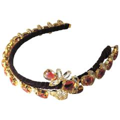 Robert Sorrell One Of A Kind Crystal Jeweled Floral Headband