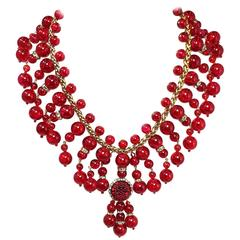 Signed Anka Red Glass Bib Necklace