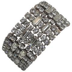 Vintage 1960s Wide Kramer Crystal Bracelet