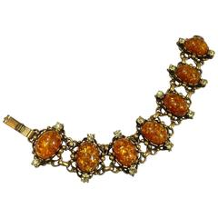 Vintage Coro Orange Opaline Glass Bracelet