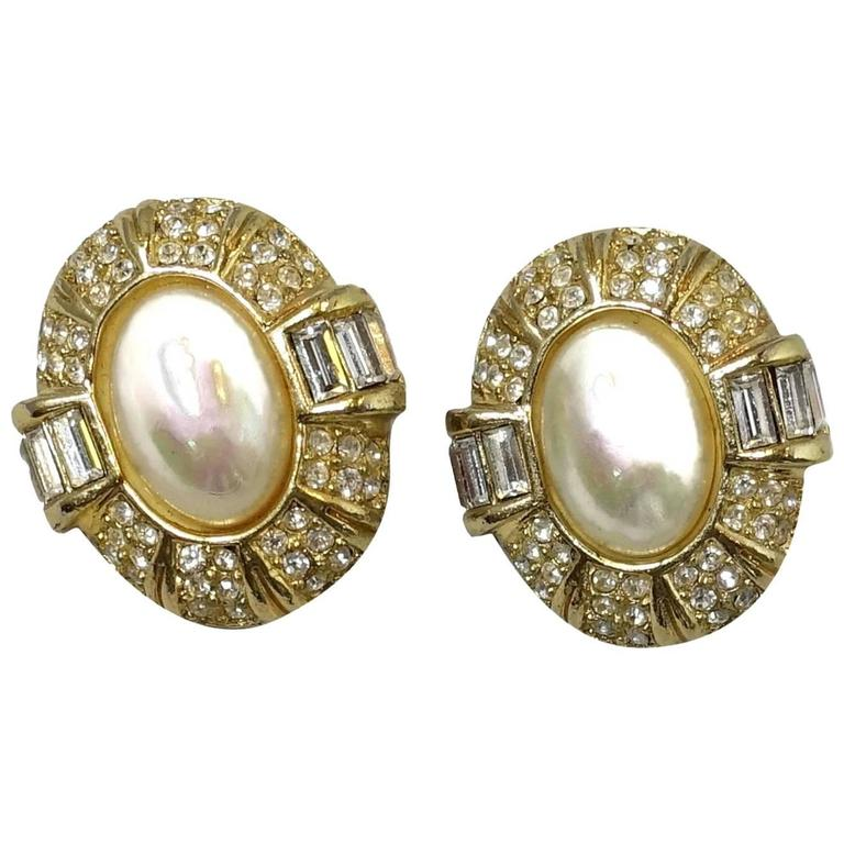 Dior Vintage Clic Clip Earrings 1980s For