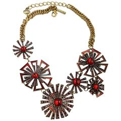 Vintage Signed 1980s Oscar De La Renta Starburst Bib Necklace