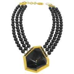 Vintage Couture Yves Saint Laurent Black V Necklace