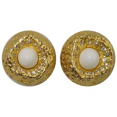 Vintage 1960's Kenneth Lane K.J.L. Golden Clip Earrings