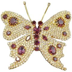 Purple and Clear Rhinestone Vintage Butterfly brooch, 1980s