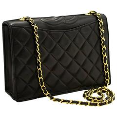 CHANEL Single Flap Chain Shoulder Bag Black Quilted Lambskin Gold