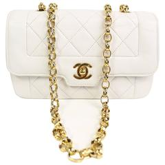 Chanel White Quilted Lambskin Mini Flap Bag with Gold Chain