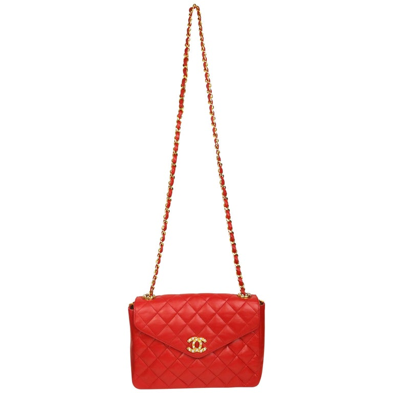 "Chanel Classic Red Quilted Lambskin Leather ""CC"" Rhinestones Flap Shoulder Bag"