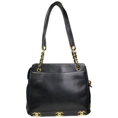 "Chanel Black Caviar Leather Gold ""CC"" and Gold Chain Shoulder Bag"