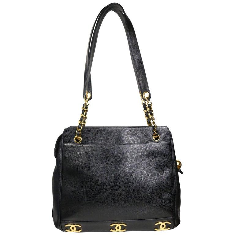 1d33a820e10b Chanel Black Caviar Leather Gold
