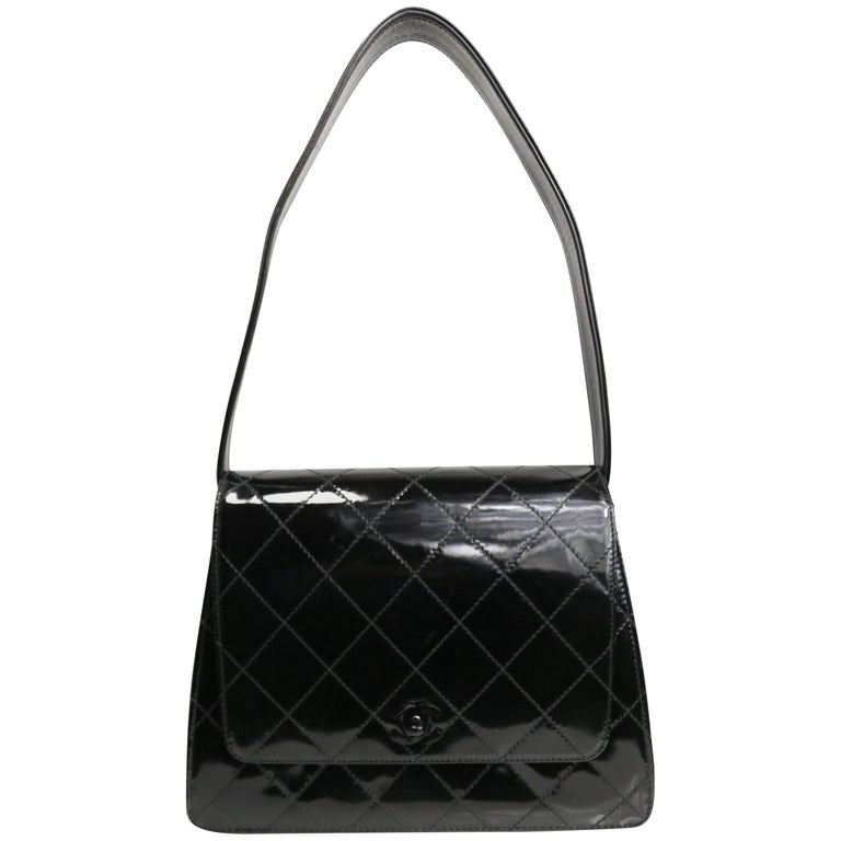 Chanel Black Quilted Patent Leather Handbag