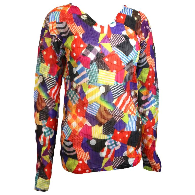 Issey Miyake Multi Colour and Pattern Long Sleeves Pleated Top