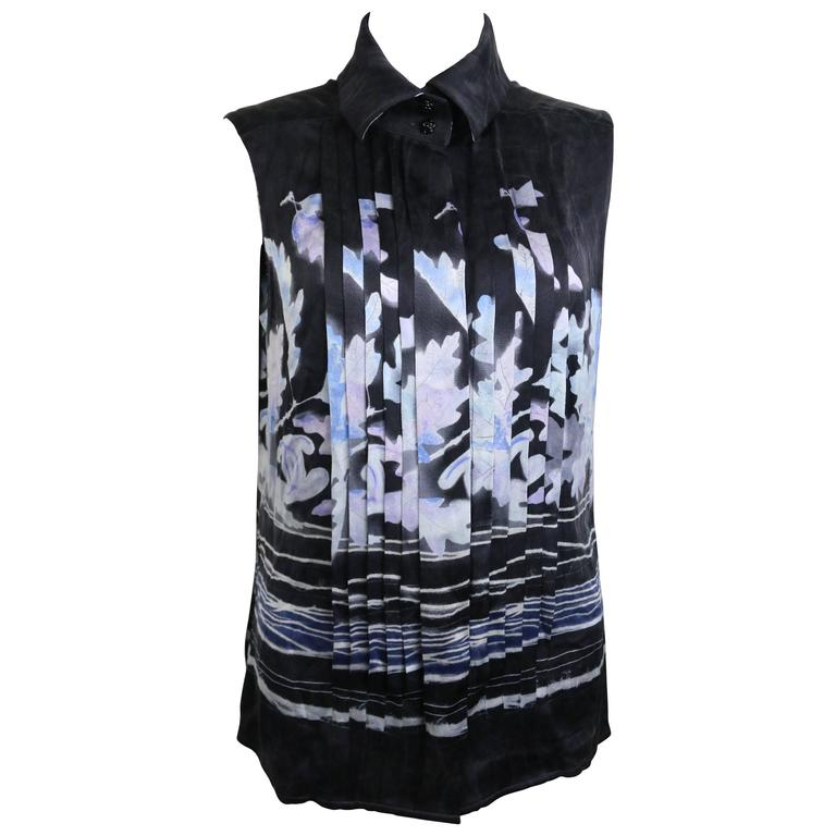 Chanel Black Silk Leaves Sleeveless Shirt  For Sale