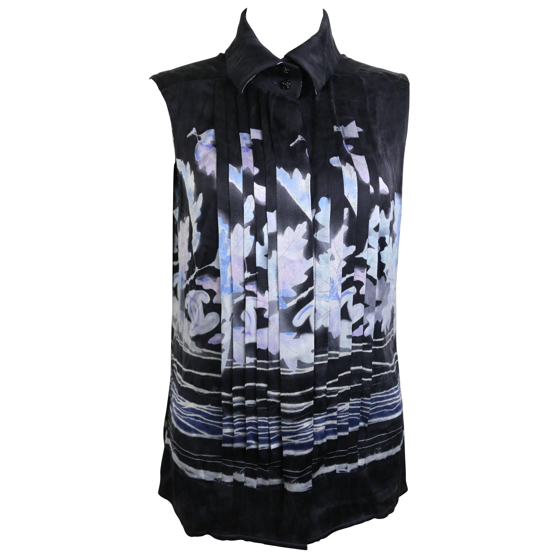 Chanel Black Silk Leaves Sleeveless Shirt