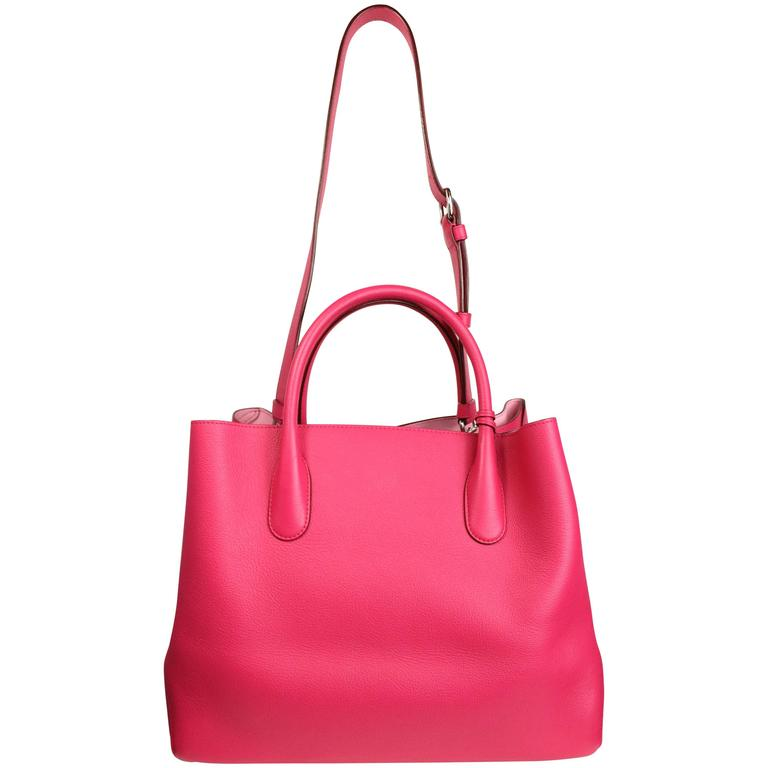 Christian Dior Pink Calfskin 'Open Bar' Large Convertible Tote Bag