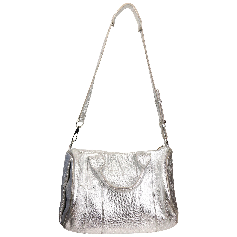 Alexander Wang Silver Metallic Rocco Stud-Bottom Satchel Bag