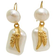 A Pair of 1990s Chanel Mother-of-Pearl Dangle Earrings