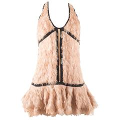 Tom For for Gucci Spring-Summer 2003 pale pink feather mini dress