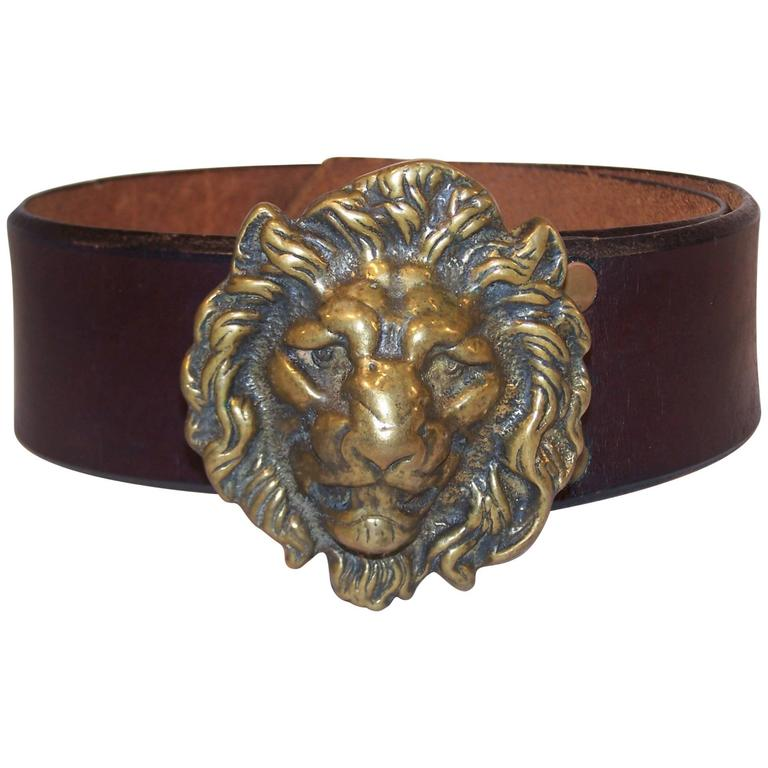 C.1970 Brass Lion & Brown Leather Belt Made in England for Lord & Taylor For Sale