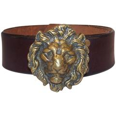 C.1970 Brass Lion & Brown Leather Belt Made in England for Lord & Taylor