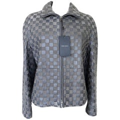 Giorgio Armani Jacket Woven Leather and Suede Taupey Gray  48