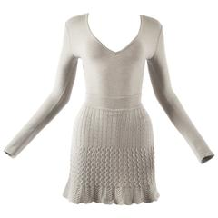 Alaia 1990s dove grey knitted bodysuit and mini skirt ensemble