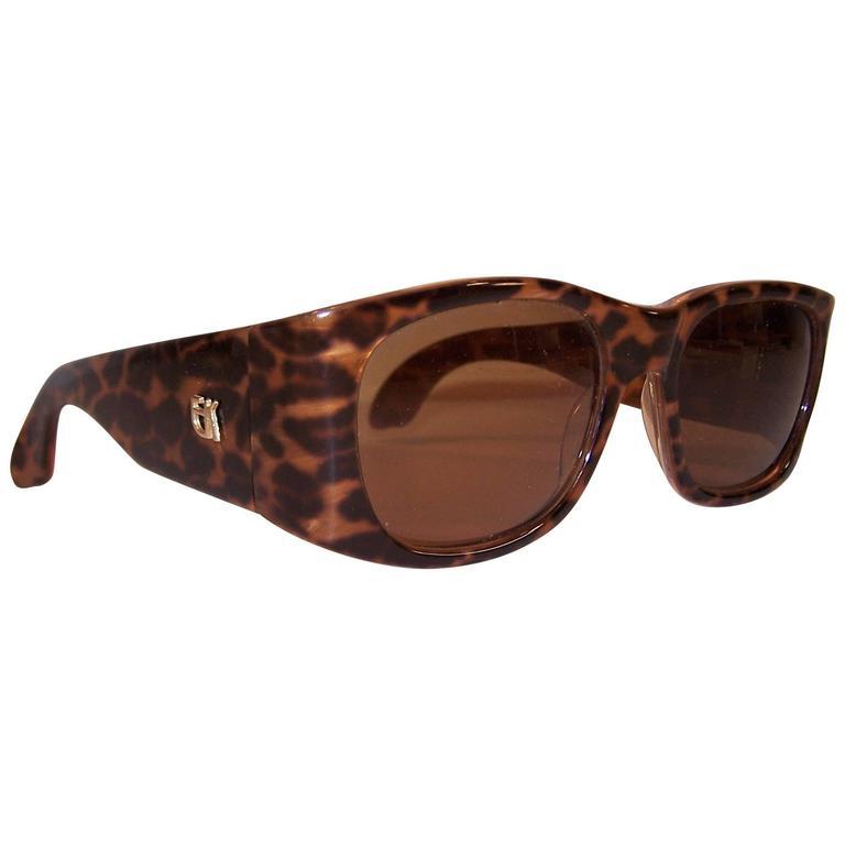 French 1980's Emmanuelle Khanh Leopard Print Sunglasses
