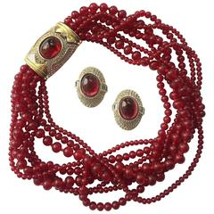 1980s Ciner garnet glass necklace and earrings set