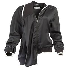 Maison Martin Margiela Black Silk Asymmetric Bomber Jacket